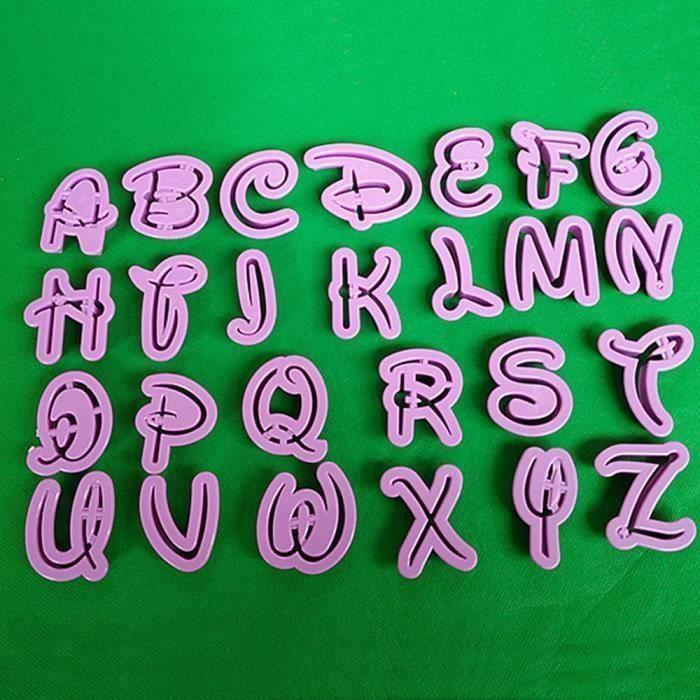 26 Alphabet Moule style Disney Lettre Cutter Fondant Cookie Stamp Décoration de gâteau@FLL80904673