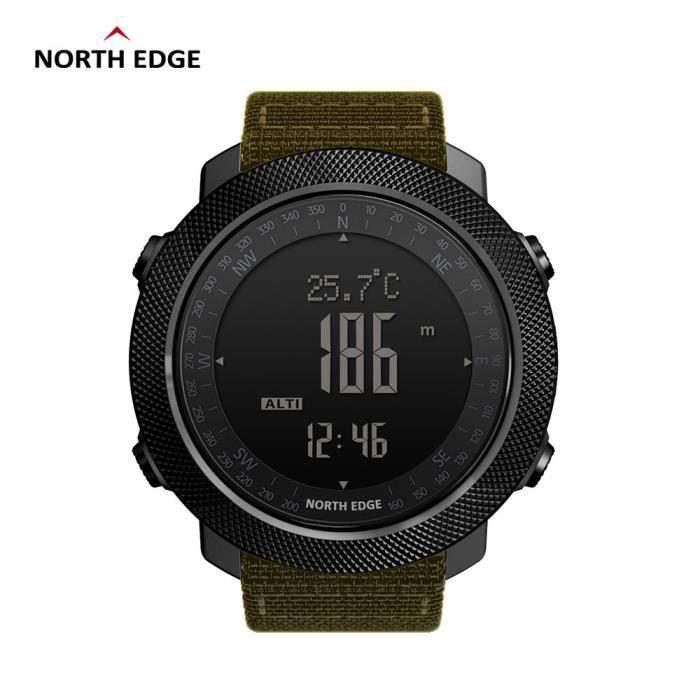 Khaki Nouveau North Edge montre numérique de sport pour hommes en cours d'exécution natation altimètre baromètre boussole escalade é