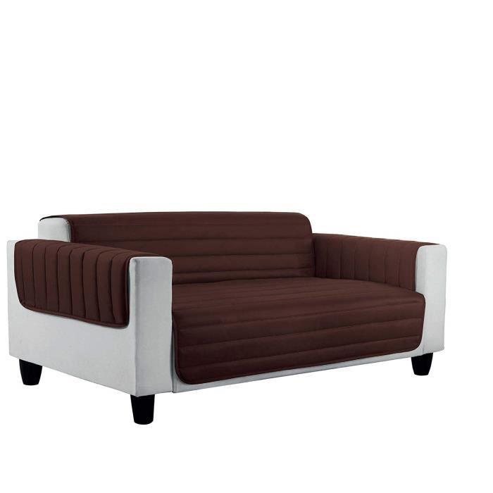 Italian Bed Linen 8058575008206 Housse de Canapé Lit en Microfibres Anti-Allergique Réversible Marron Crème/Microfibre 175 x 50 x 1