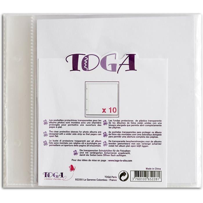 Albums photo Toga AL11E 10 pochettes pour album de scrapbooking, Plastique, Transparent, 20 x 20 x 0,5 cm400