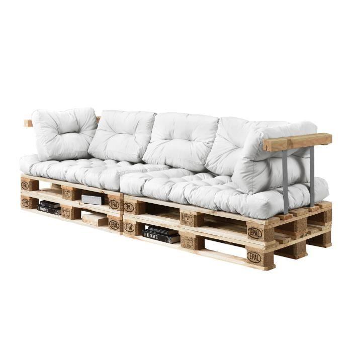 Coussins pour palettes - 7 pièces - coussin de siège + Coussins de dossier blanc Canapé de palettes In-Outdoor