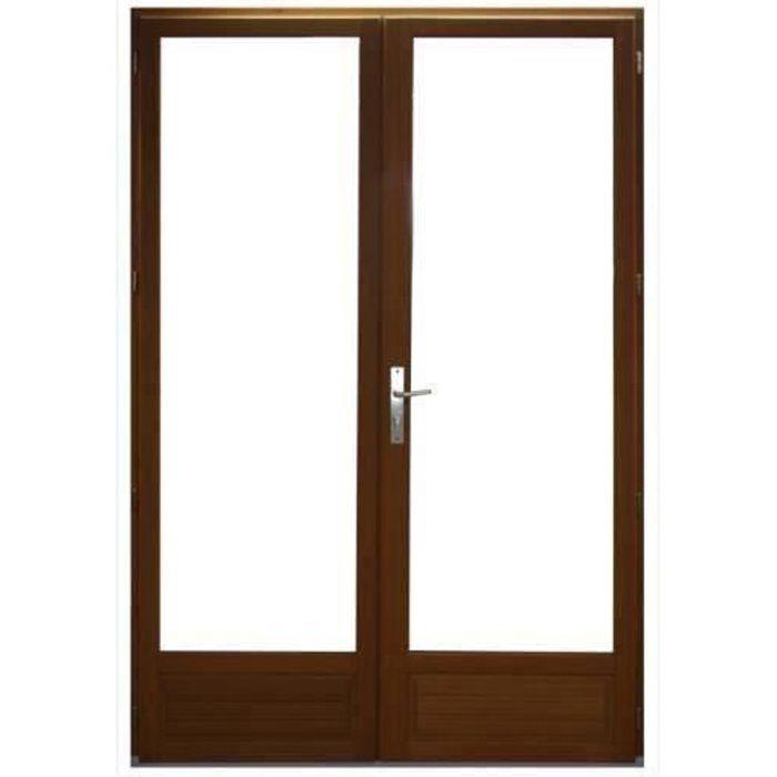 Porte Fenêtre 2 vantaux en bois exotique Hauteur 215 X L argeur 120 (cotes tableau)