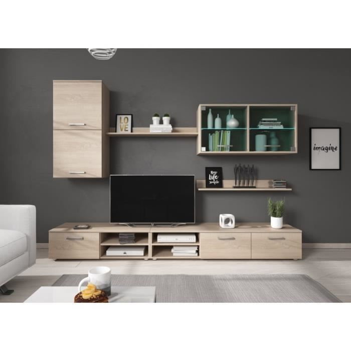 Ensemble meuble TV HITCH couleur bois avec leds