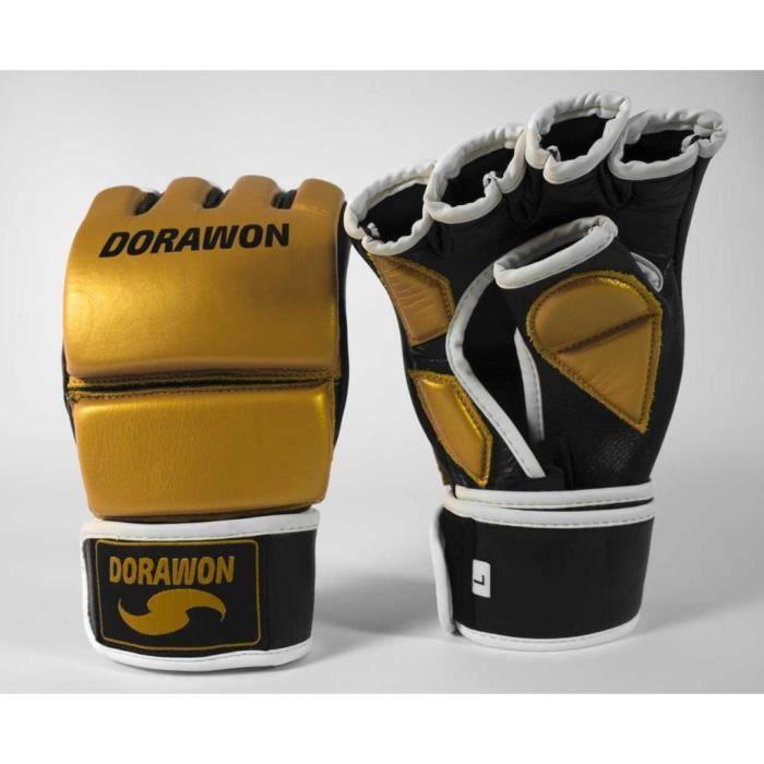 Gants de MMA cuir professionnel FRESNO or et noir par Dorawon