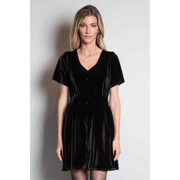 DEELUXE Robe noire en velours ABELA Black