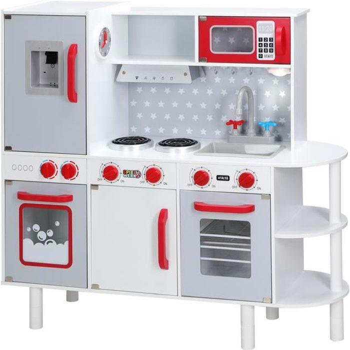 Cuisine pour enfants en bois 91x33x86/92 cm dinette cuisinière réglable hauteur 38 accessoires jeu éducatif enfant jouet d'imitation