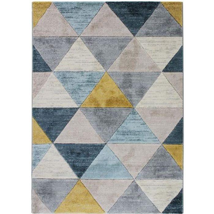 FJORD - Tapis aspect laineux motif triangles bleu et jaune 120x170