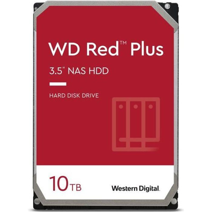 WD Red™ Plus - Disque dur Interne NAS - 10To - 7200 tr/min - 3.5- (WD101EFBX)