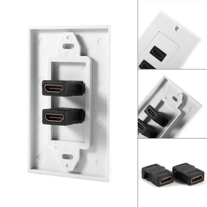 2 HDMI module Plaque panneau Murale Modulaire 2 Prise face outlet-réseau Coupleur Pour HDTV