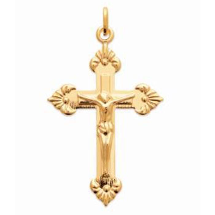 Pendentif croix avec Christ en or jaune 18 K 38 mm Crucifix unisexe femme homme communion