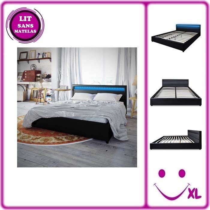 lit en similicuir avec t te de lit led 200 180 cm noir. Black Bedroom Furniture Sets. Home Design Ideas