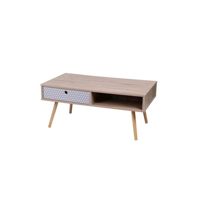TABLE BASSE Table basse 1 tiroir 2 niches Miley
