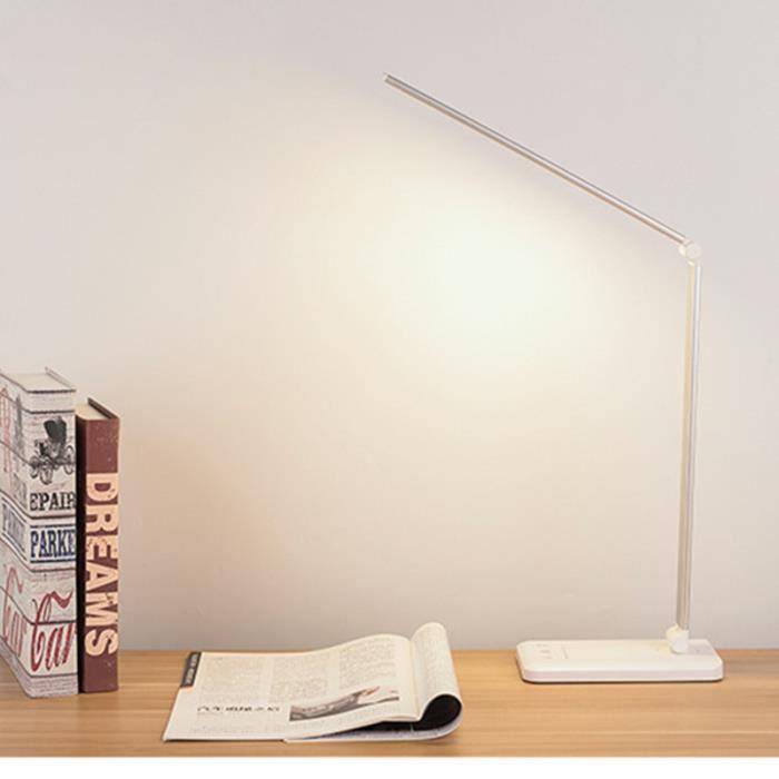 6w 52leds Lampe De Chevet Tactile Flexible Sans Fil 5 Niveaux De Luminosité Lampe De Bureau Table Lecture Led Rechargeable Argent