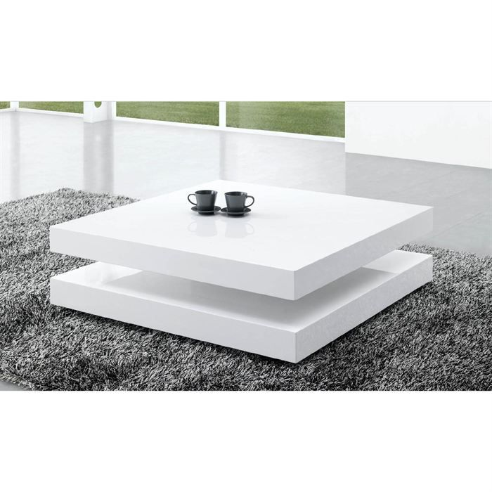 Table basse laqu e blanc charlene achat vente table for Table basse blanche pas cher