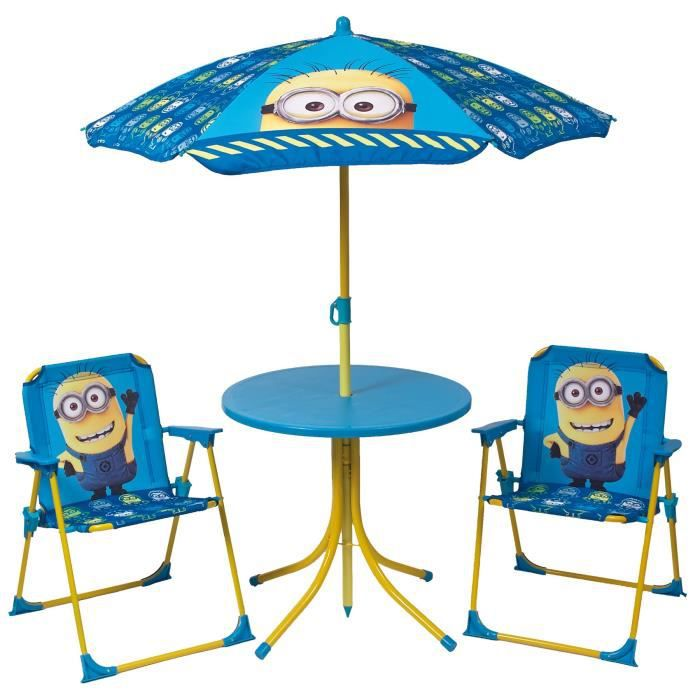 les minions ensemble de jardin camping enfant table 2 chaises et parasol achat vente. Black Bedroom Furniture Sets. Home Design Ideas