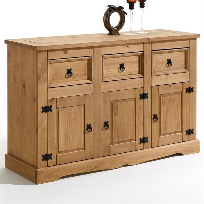 Buffet bahut commode style mexicain pin massif finition for Finition de meuble en bois