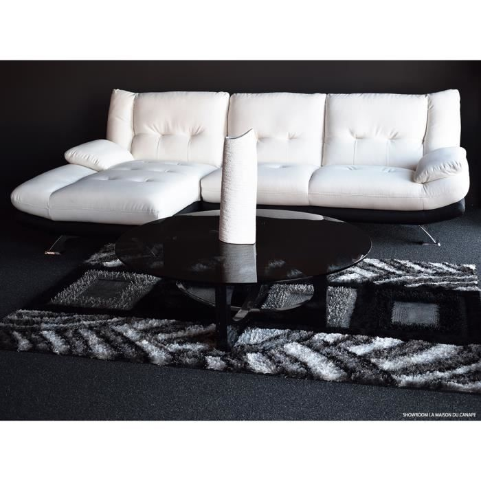 canap cuir angle miranda gauche blanc et noir achat vente canap sofa divan les. Black Bedroom Furniture Sets. Home Design Ideas