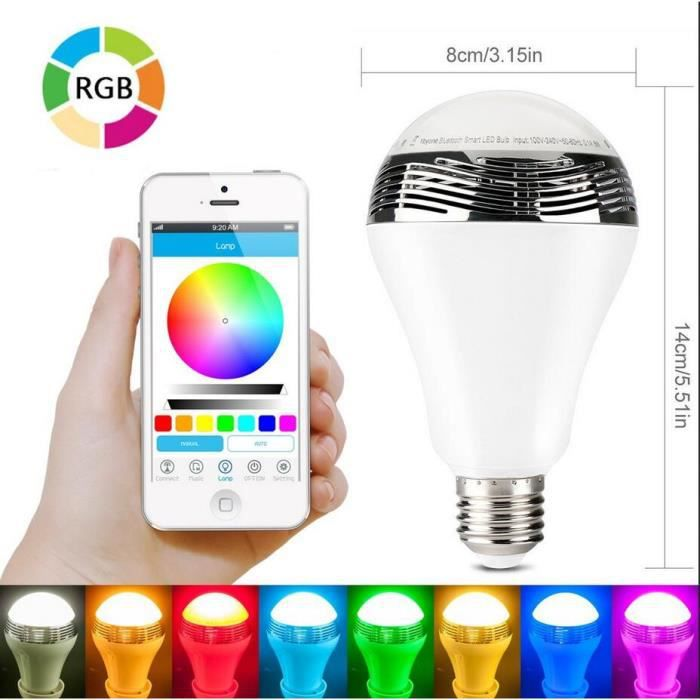ampoule led bluetooth sans fil avec haut parleur couleur changeante lampe led rgb e27 5w support. Black Bedroom Furniture Sets. Home Design Ideas