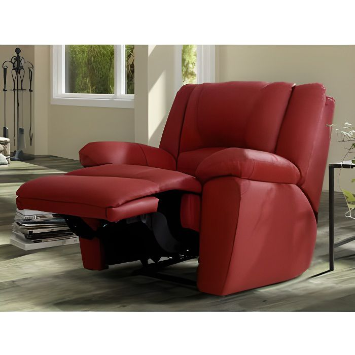 fauteuil relax en cuir aroma rouge achat vente fauteuil rouge cdiscount. Black Bedroom Furniture Sets. Home Design Ideas