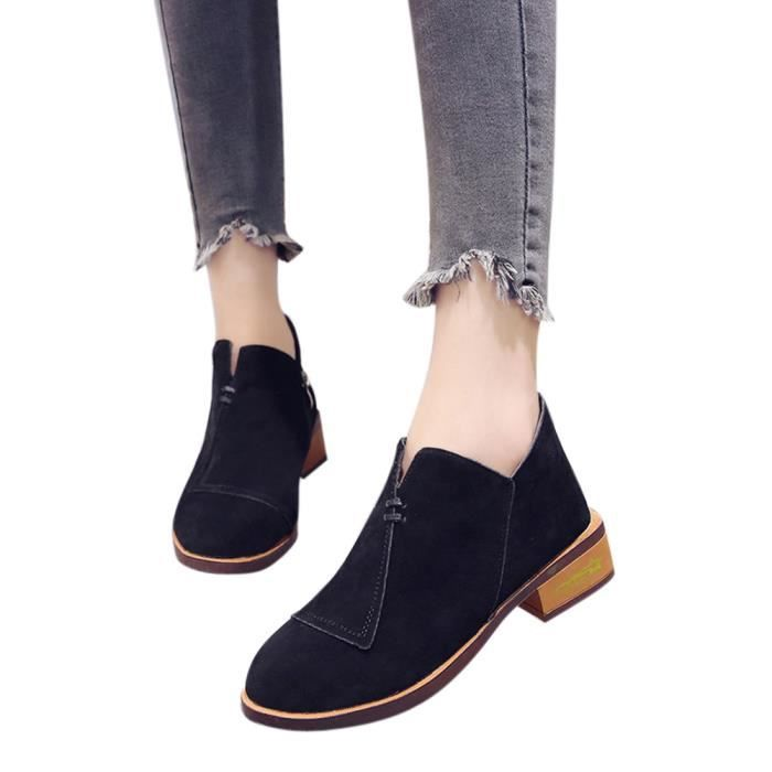 Solid Ladies Boots 2554 cu Femmes Roman Martin Single Short Noir Ankle Autumn Shoes qITwxgUO