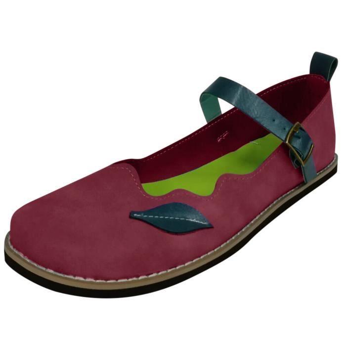 Femmes Flats Pompes basse HEELE Boucle Sangle léger Sandales de chaussures simples Casual rouge