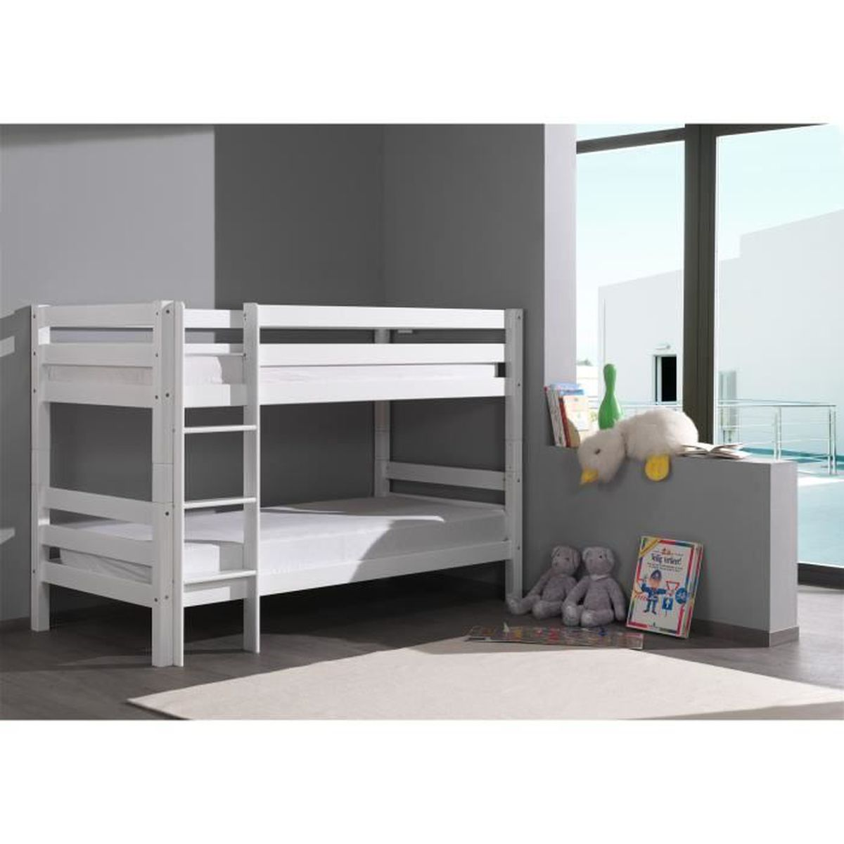 lit superpos 90x200 hauteur 140 cm en h tre massif blanc blanc achat vente lits superpos s. Black Bedroom Furniture Sets. Home Design Ideas