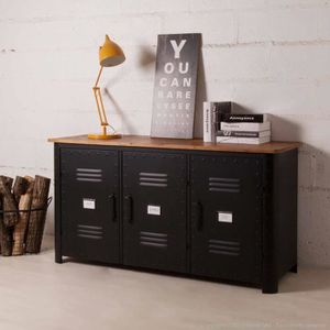 buffet metal noir achat vente buffet metal noir pas. Black Bedroom Furniture Sets. Home Design Ideas