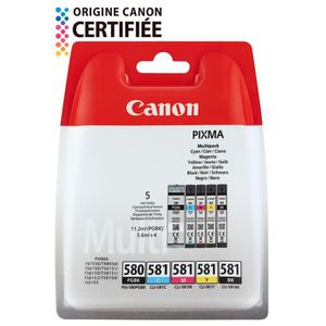 CARTOUCHE IMPRIMANTE CANON Pack de 5 cartouches PGI-580/CLI-581 PGBK/BK