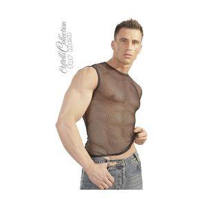 T-SHIRT - TOP SEXY Tee Shirt manches courtes Noir en résille (M-L)