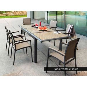 SALON DE JARDIN  Table extensible en composite 6/10 places Taupe