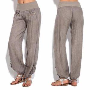PANTALON Mode Femmes Boutons solides Coton et lin Casual pa