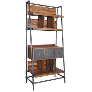 BIBLIOTHÈQUE  Bibliothèque en bois de suar massif-métal - Dim :