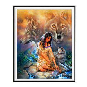 Broderie diamant kit complet,Loup et aigle Peinturepar num/éro,Peinture en Diamant 5D DIY Point de Croix Arts Craft Supply pour la Maison Wall Decor 40 x 30 cm