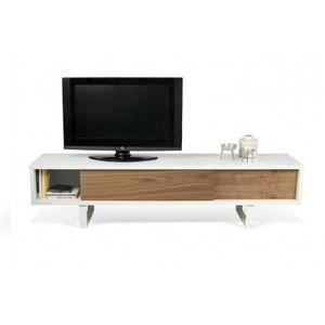 MEUBLE TV SLIDE meuble tv design blanc avec 2 portes couliss
