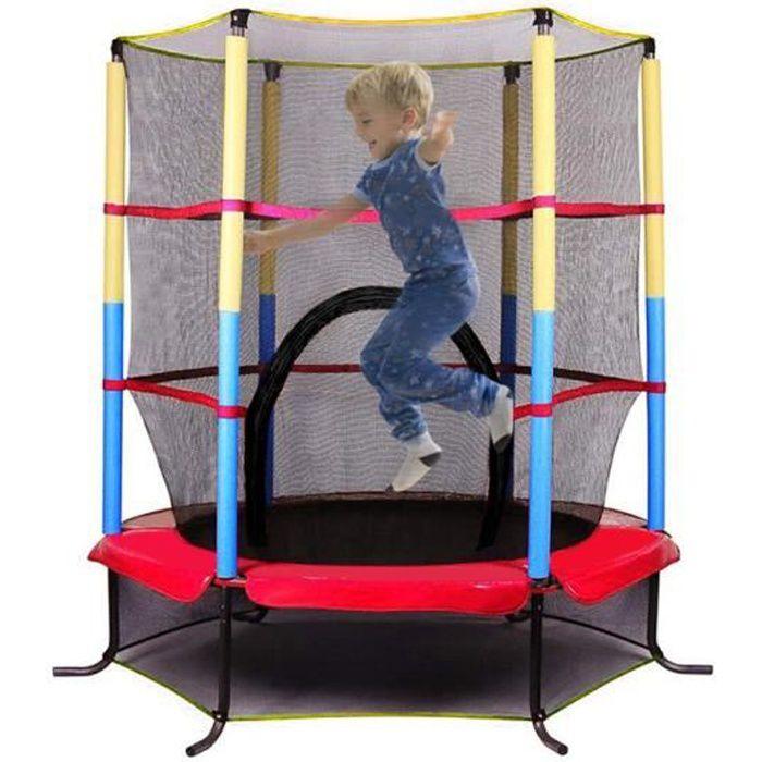 Trampoline de Jardin Enfants Ø 140 × 160 H cm avec Filet de sécurité Porte zipée Couvre-Ressorts