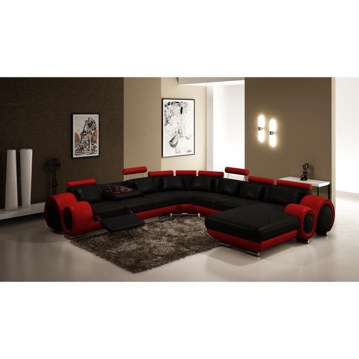 Canapé d'angle panoramique cuir noir et rouge relax LORY