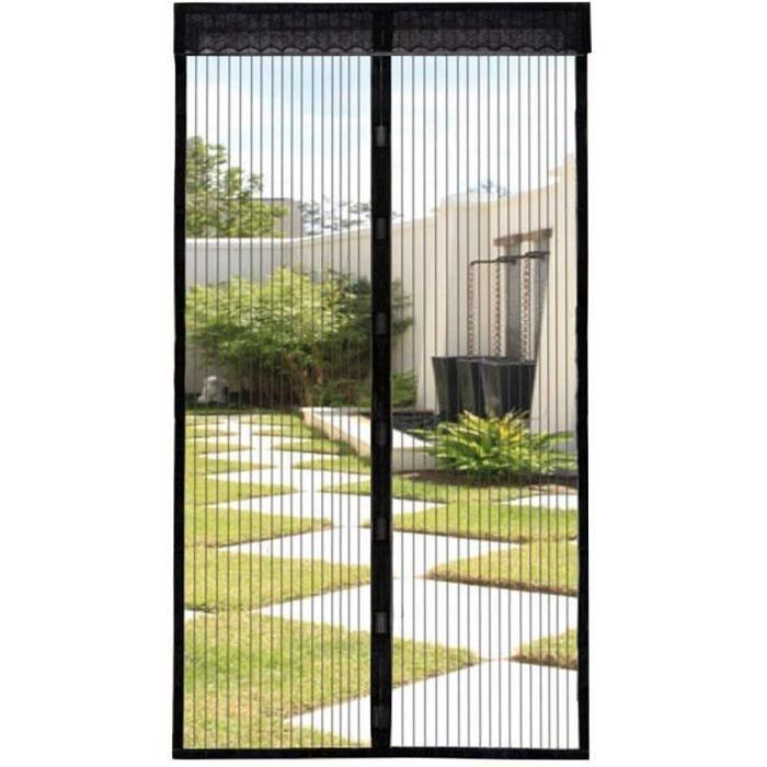 Moustiquaire de Porte Magnétique Fermeture Automatique Rideau avec Aimants et Bande Adhesive Sans Perçage (80x200cm) Noir