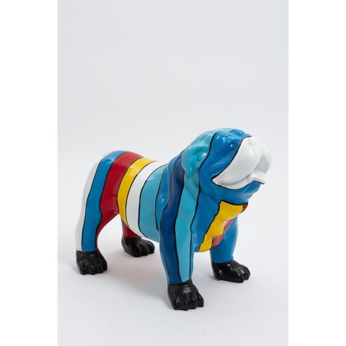 Statue chien bouledogue anglais debout taille S - LONDRES - 60cm - sculpture résine animal design deco decoration