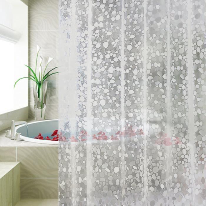 Jupitte Rideau de Douche EVA Semi Imperméable et Anti-moisissure, Sans PVC, sans crochets, 180x200CM