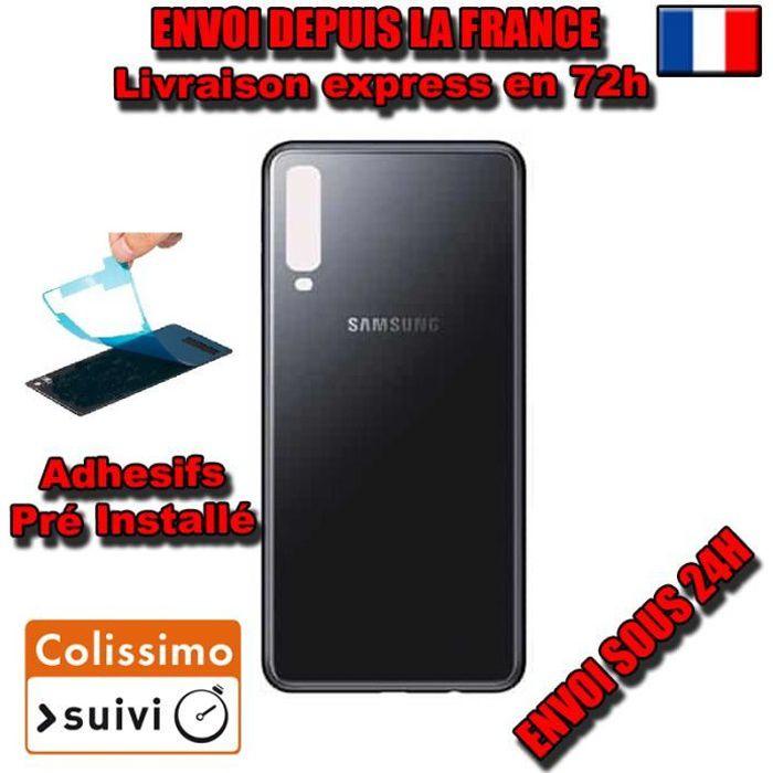 VITRE ARRIERE SUR CHASSIS Samsung Galaxy A7 2018 A750 NOIR VITRE AR