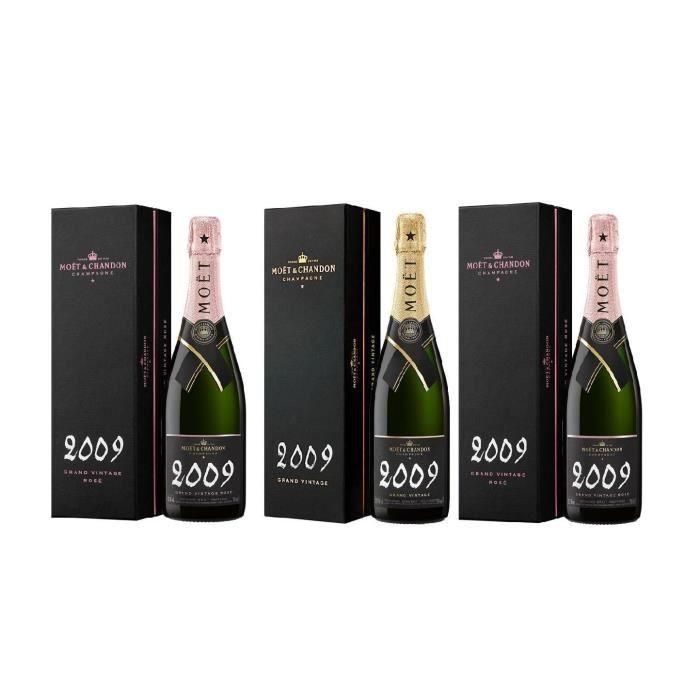 Lot de 3 Bouteilles 0.75 Moët et Chandon Grand Vintage 2009 2 Rosé et 1 Brut