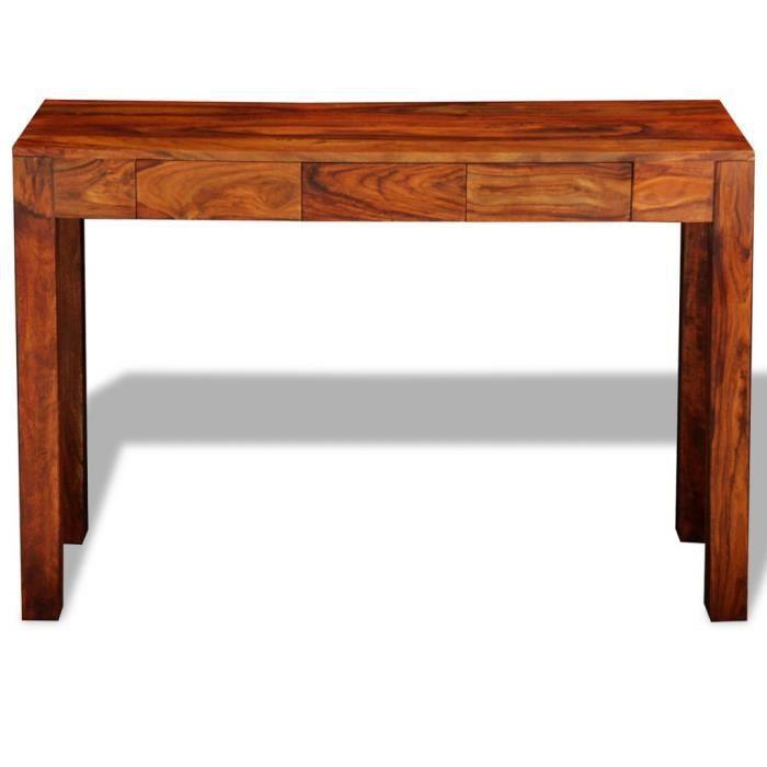 Magnifique Console Table Cabinet Buffet en bois massif Sheesham 3 tiroirs 80 cm