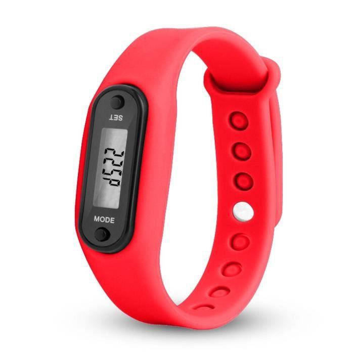Montre numérique blanche LCD course marche Distance podomètre calories Silicone calories Sport Bracelet m - Modèle: I - HSJBQA09061