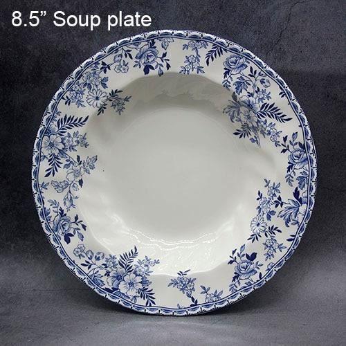Assiette,Service de table bleu et blanc, vaisselle élégante de Style anglais, assiette de petit - Type 8.5 inch soup plate