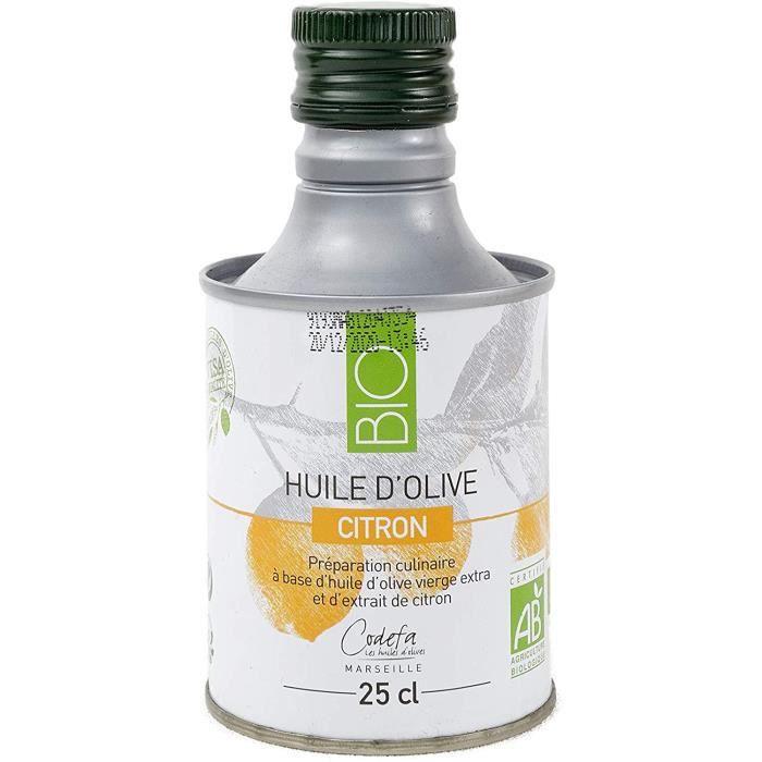 CODEFA les huiles - Huile d'olive 25 cl - Bouteille en métal - Vierge Extra - BIO - Citron - Qualité supérieure