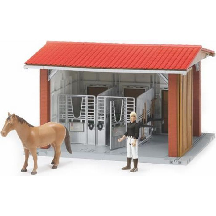 BRUDER - Ecurie Bworld avec figurine, cheval et accessoires - 48 cm