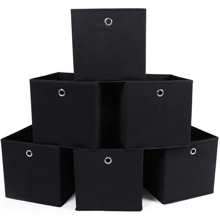 ChangM Lot de 6 Boîtes Tiroirs en Tissu Cube de Rangement Pliable Coffre pour Linge, Jouets, Vêtement 31 x 31 x 31 cm