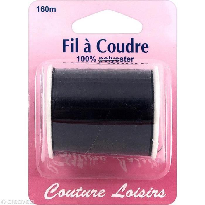 Fil à coudre Noir - 160 m Fil à coudre Couture Loisirs : - Couleur : Noir - Matière : 100% polyester - Longueur : 160 mètres -