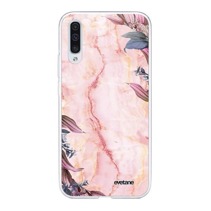 Coque Samsung Galaxy A70 360 intégrale transparente Marbre Fleurs Ecriture Tendance Design Evetane.