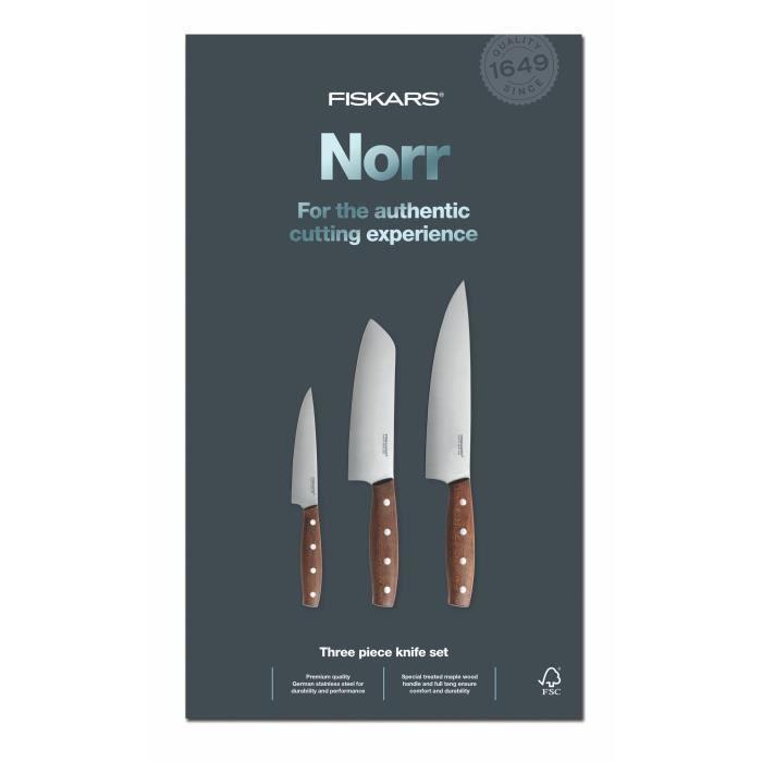 Fiskars 1016473 Norr Set de 3 Couteaux Acier Inoxydable Bois 39 x 20,8 x 3,5 cm